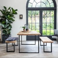 Armstrong Industrial Dining Table | Solid Wood & Black Metal Legs